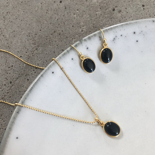 LUNA BLACK GOLDEN EARRING NECKLACE SET