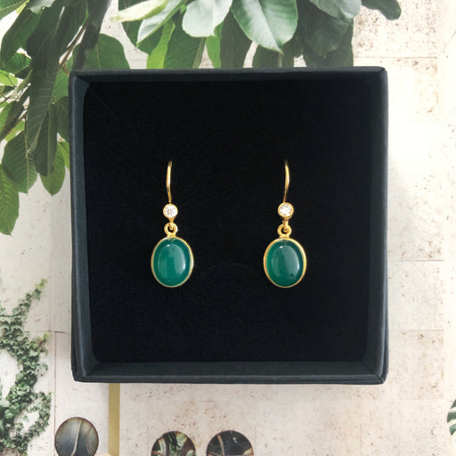 LUNA GREEN GOLDEN ZIRCONIA EARRING