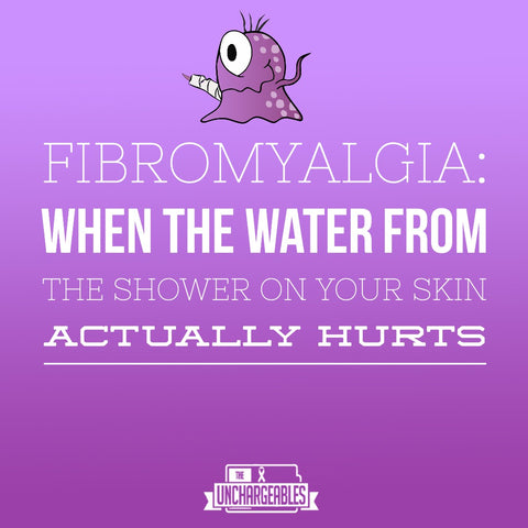 """Educational fibro meme with Gia the fibro monster on purple background with text: """" Firbomyalgia: When the water from the shower hitting your skin actually hurts."""""""