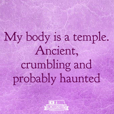 """Sercastic Fibro memes in pink with crackled background and text """"My body is a temple, ancient, crumbling, and probably haunted"""""""