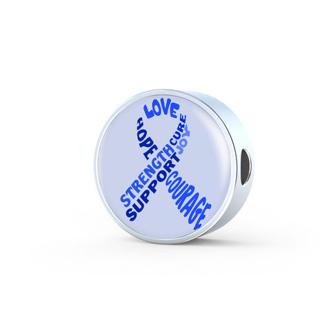Blue Awareness Ribbon With Words Charm Only