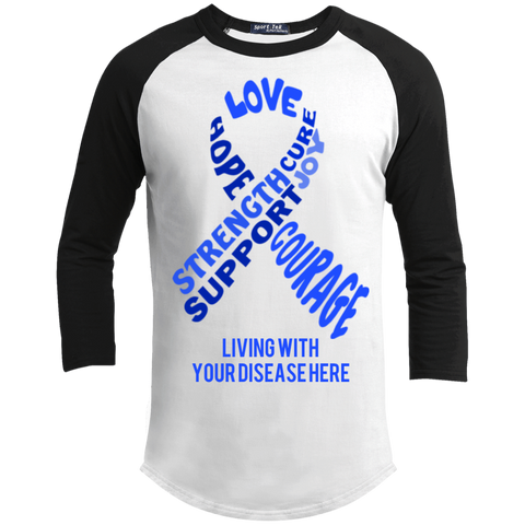 Customizable Blue Awareness Ribbon With Words Baseball Shirt