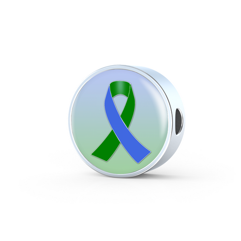 Blue and Green Awareness Ribbon Charm
