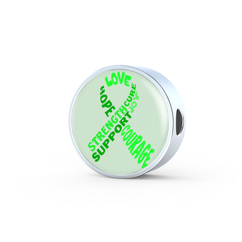 Green Awareness Ribbon With Words Charm