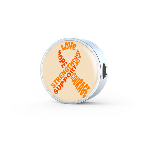 Orange Awareness Ribbon With Words Charm