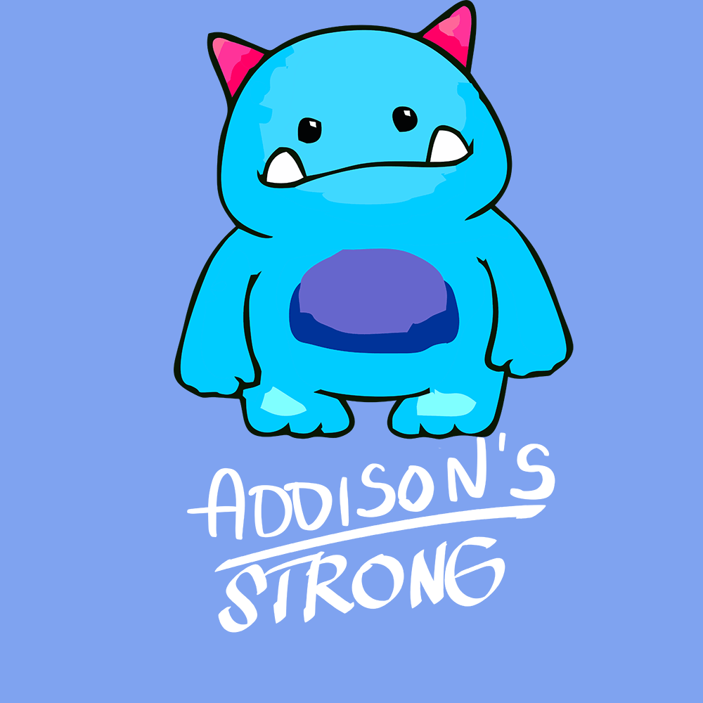 Addisons Strong Shirts With Addisons Disease Monster (Front pocket only)