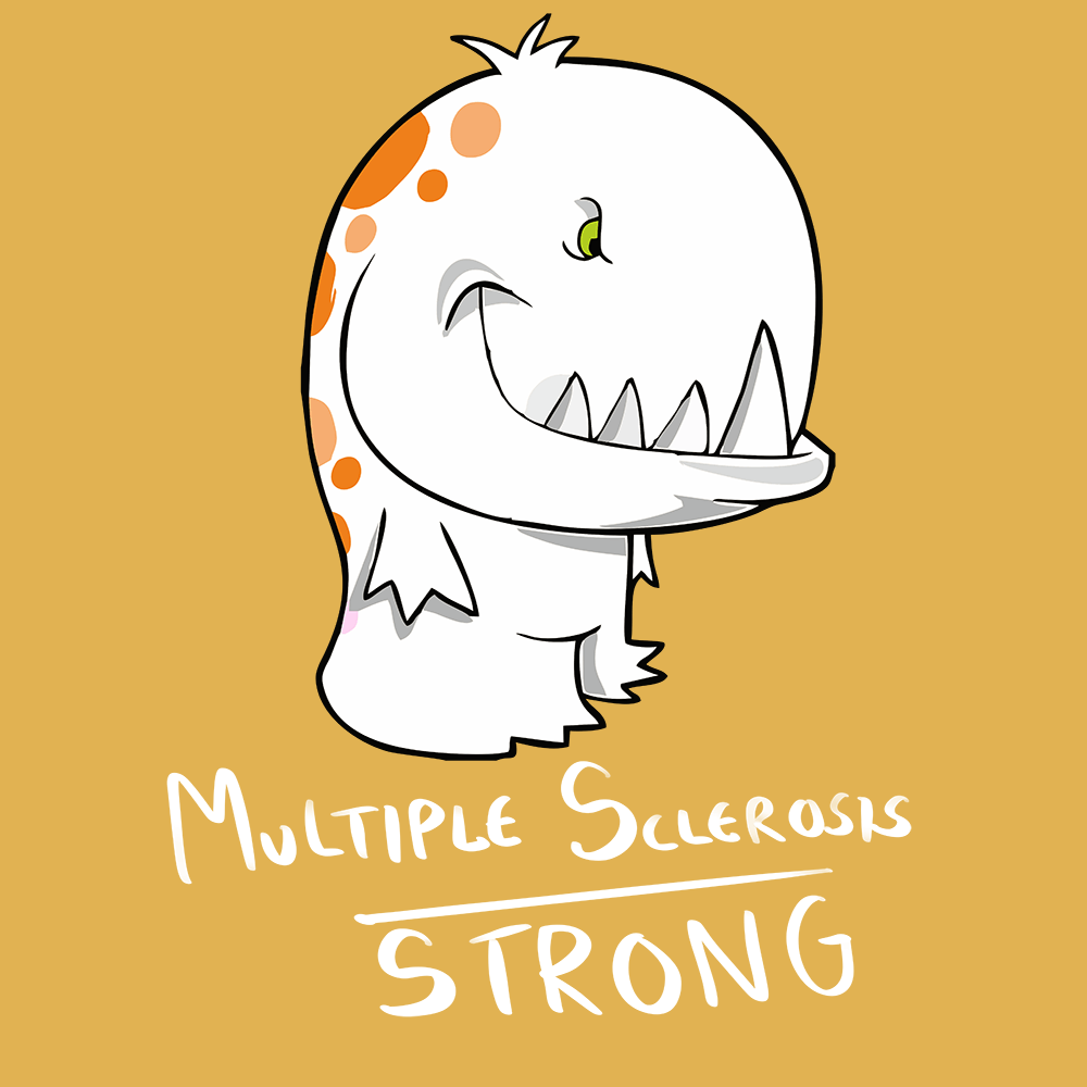 Multiple Sclerosis Strong Shirts With The Multiple Sclerosis Monster (Front pocket only) - The Unchargeables