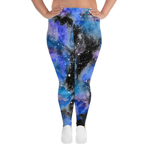 Black Galaxy All-Over Print Plus Size Leggings
