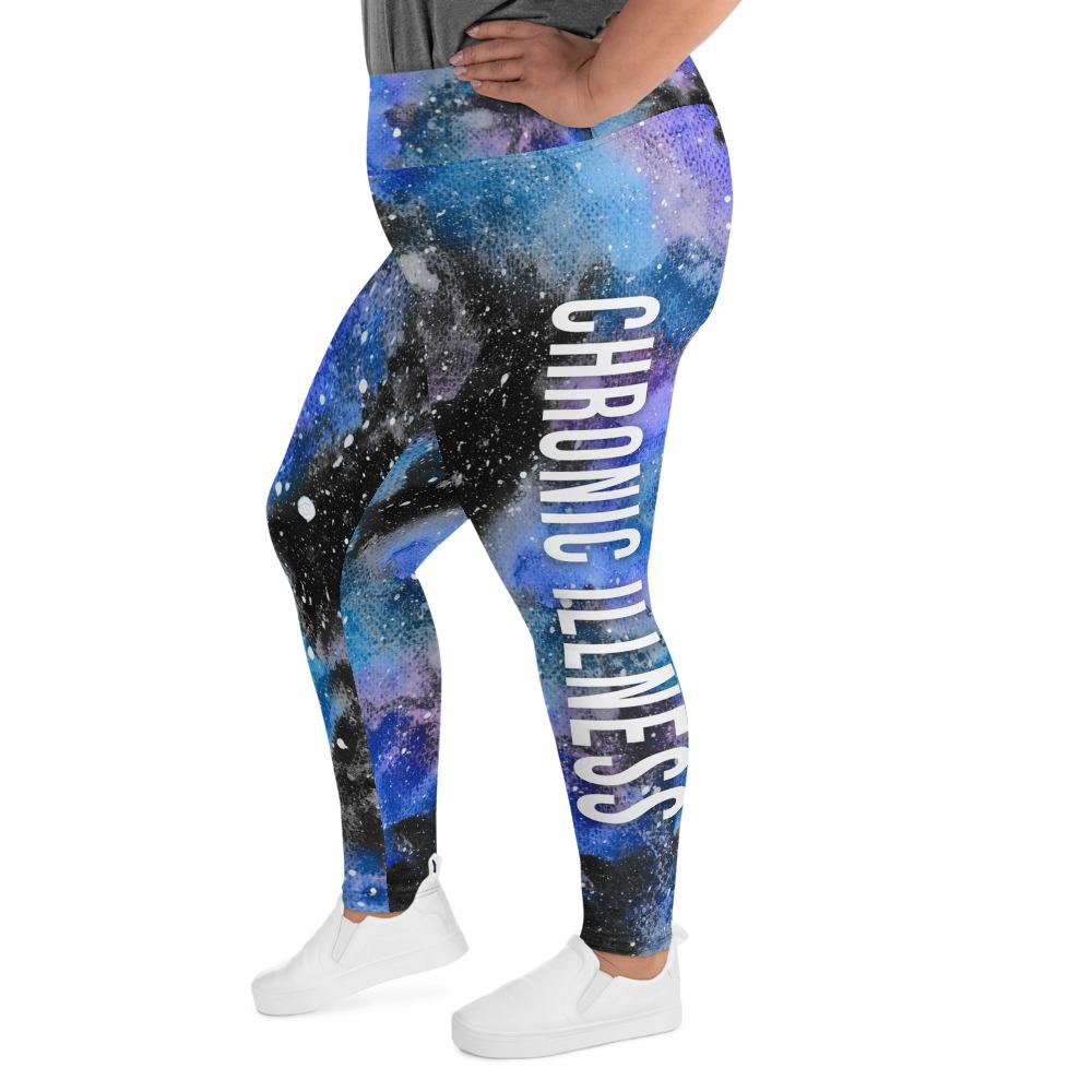 Chronic Illness Warrior NFTW Black Galaxy  Plus Size Leggings - The Unchargeables