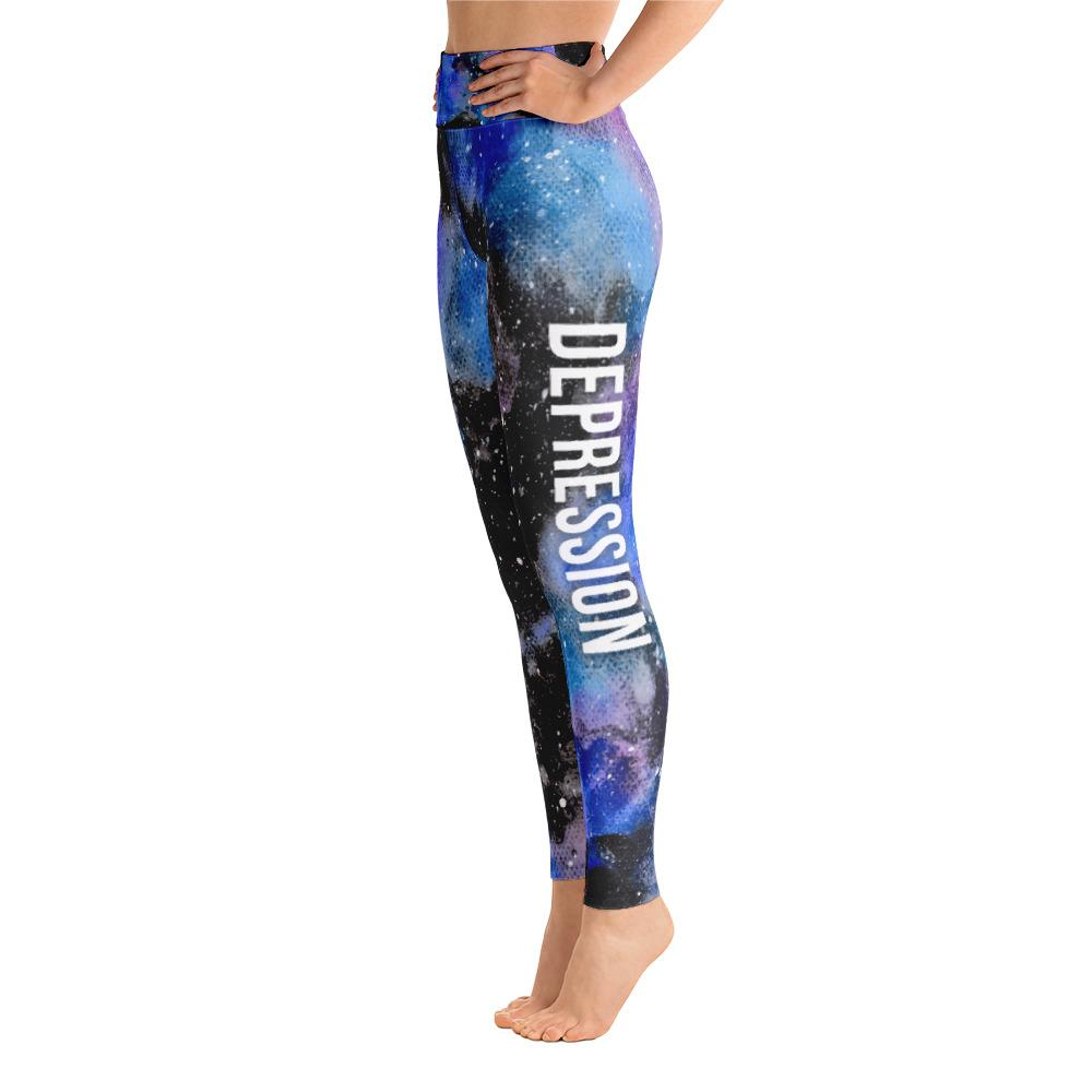 Depression Warrior NFTW Black Galaxy Yoga Leggings With High Waist and Coin Pocket - The Unchargeables