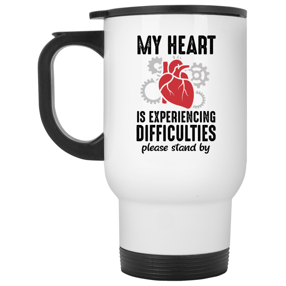 Heart is Experiencing Difficulties White Travel Mug - The Unchargeables