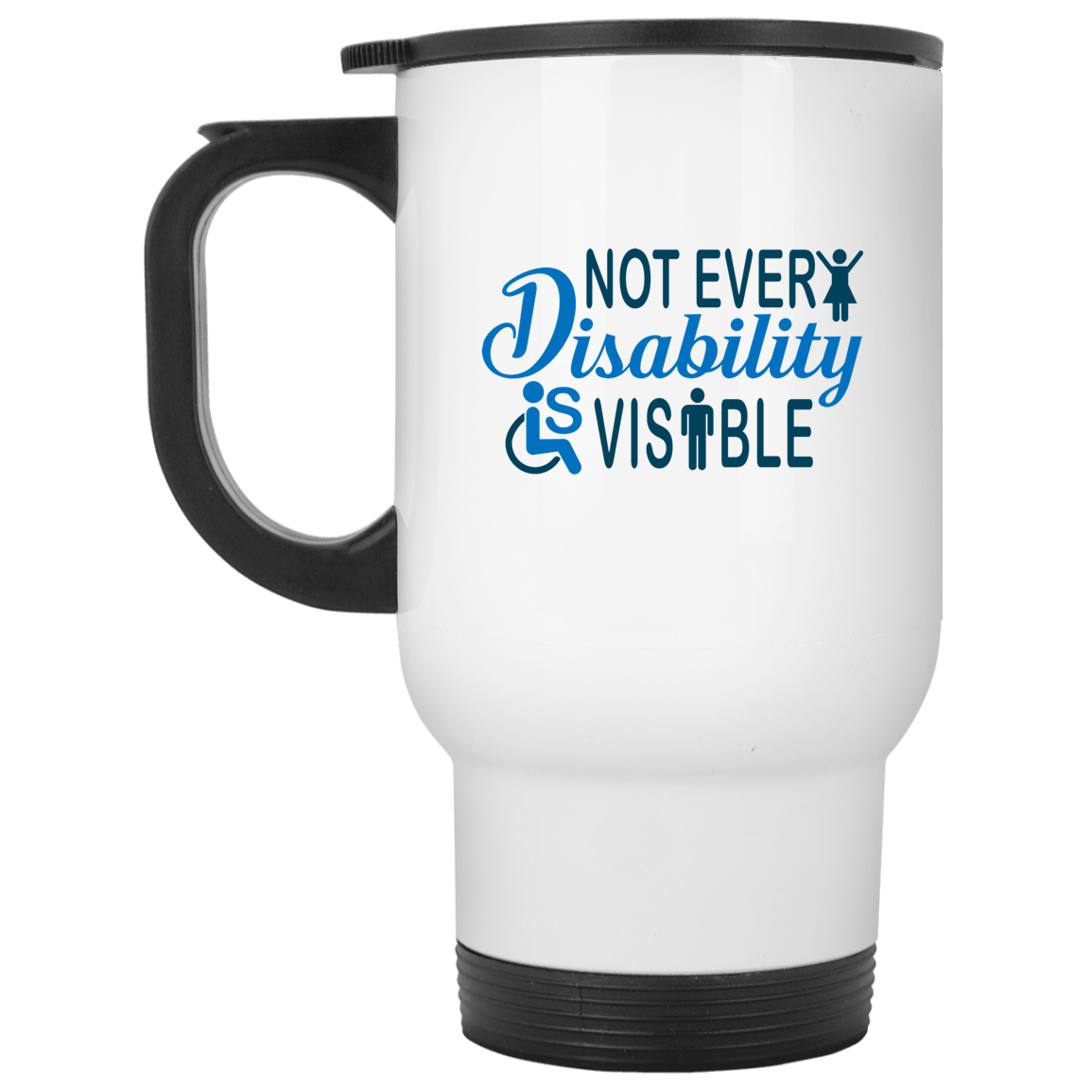 Invisible Disability White Travel Mug - The Unchargeables
