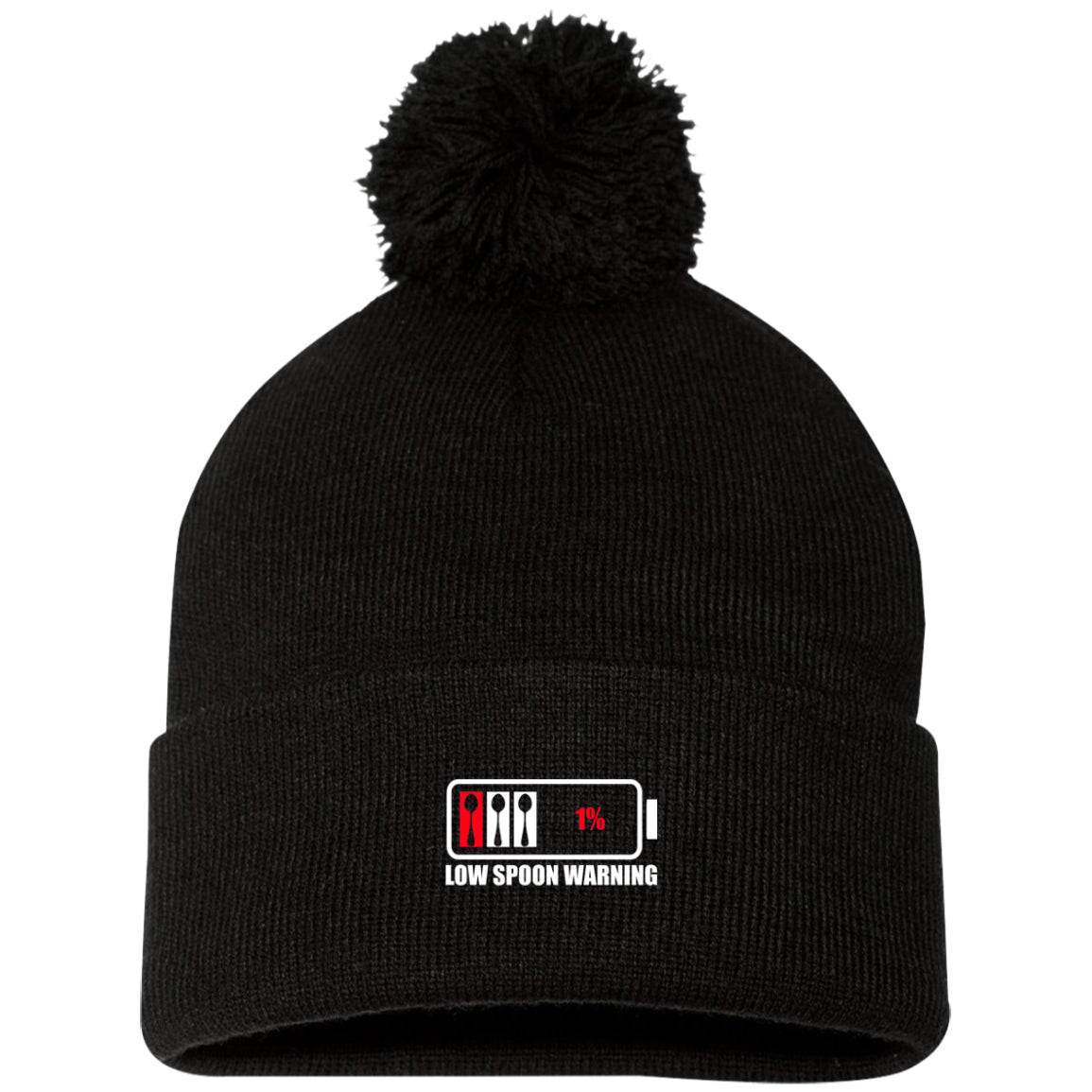 Low Spoon Warning Pom Pom Knit Cap - The Unchargeables