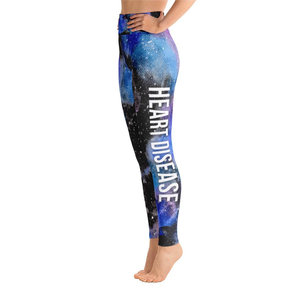 Heart Disease Warrior NFTW Black Galaxy Yoga Leggings With High Waist and Coin Pocket - The Unchargeables