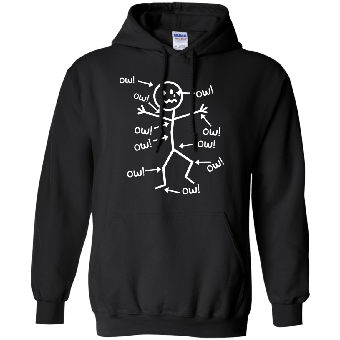 Hoodies - Ow Ow Ow Pullover Hoodie 8 Oz