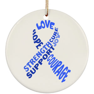 Blue Text Ribbon Circle Ornament - The Unchargeables