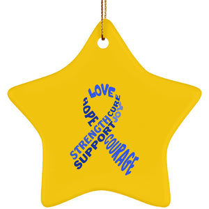 Blue Text Ribbon Star Ornament - The Unchargeables