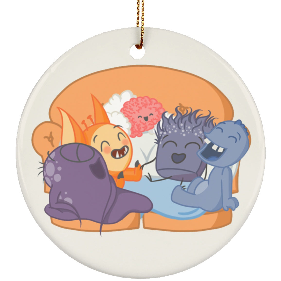 Chargimals Laughing On Couch Circle Ornament - The Unchargeables