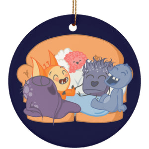 Housewares - Chargimals Laughing On Couch Ceramic Circle Ornament