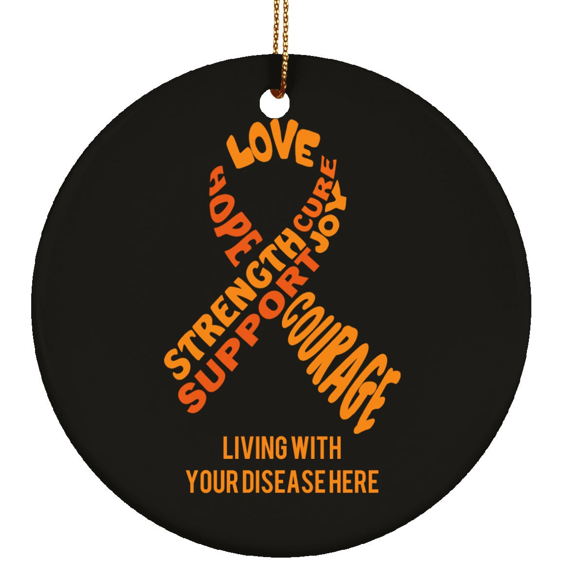 Customisable Orange Awareness Ribbon With Words Circle Ornament - The Unchargeables