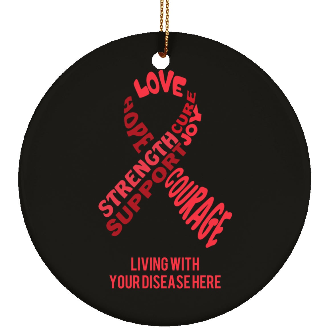 Customisable Red Awareness Ribbon With Words Circle Ornament - The Unchargeables