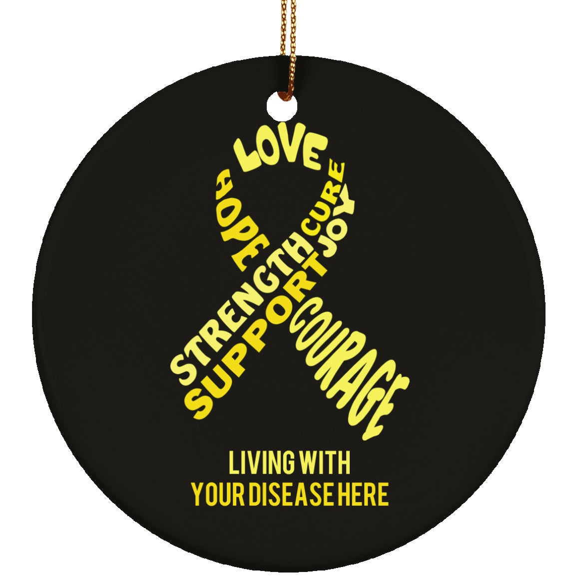 Customisable Yellow Awareness Ribbon With Words Ceramic Circle Ornament