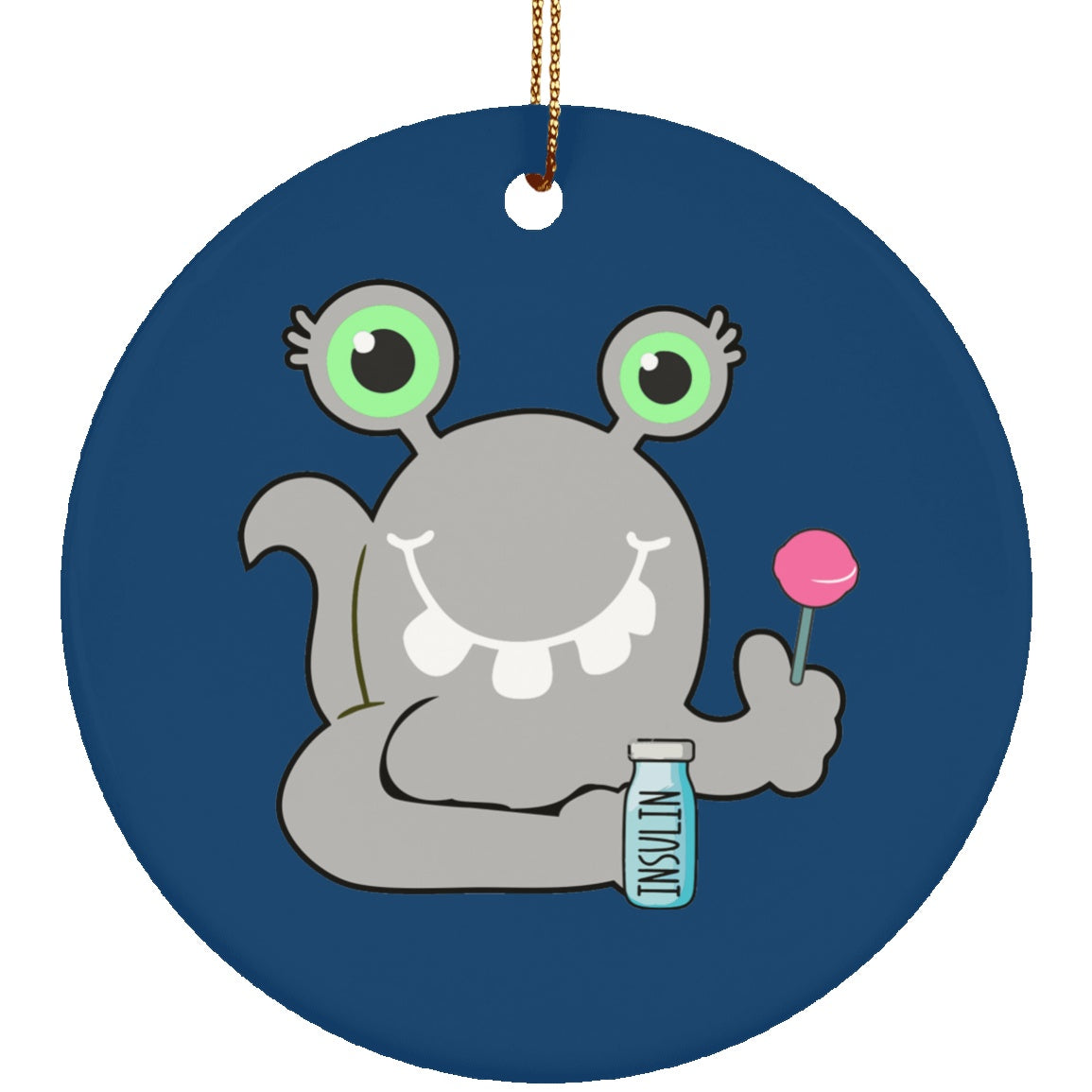 Diabetes Monster Circle Ornament - The Unchargeables