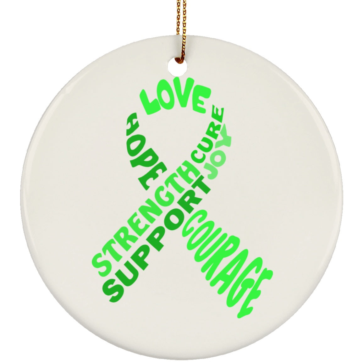 Green Awareness Ribbon With Words Circle Ornament - The Unchargeables