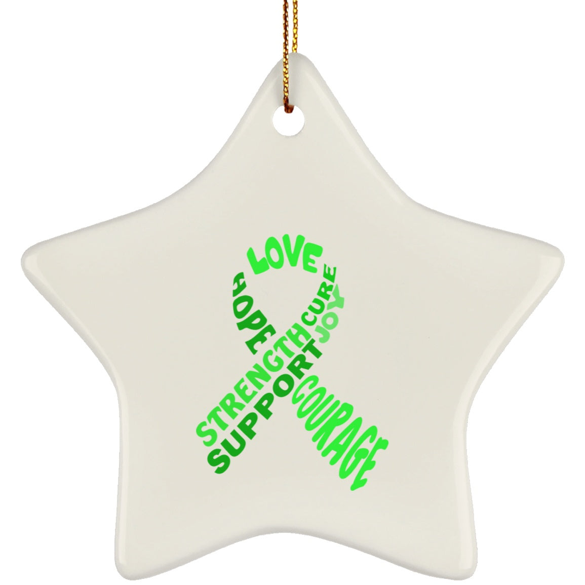 Green Awareness Ribbon With Words Star Ornament