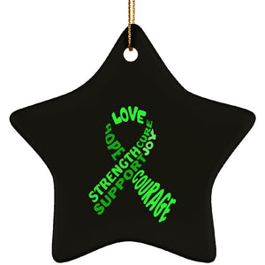 Green Text Ribbon Star Ornament