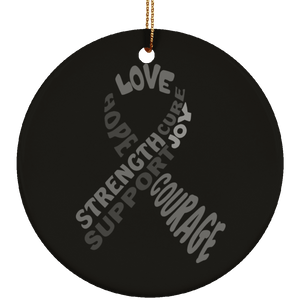 Grey Awareness Ribbon With Words Circle Ornament - The Unchargeables