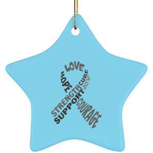 Grey Awareness Ribbon With Words Star Ornament - The Unchargeables