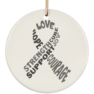 Grey Text Ribbon Circle Ornament - The Unchargeables
