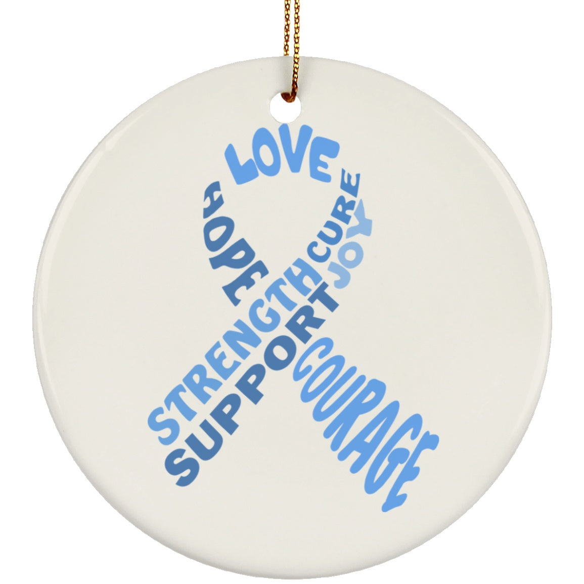 Light Blue Awareness Ribbon With Words Circle Ornament - The Unchargeables