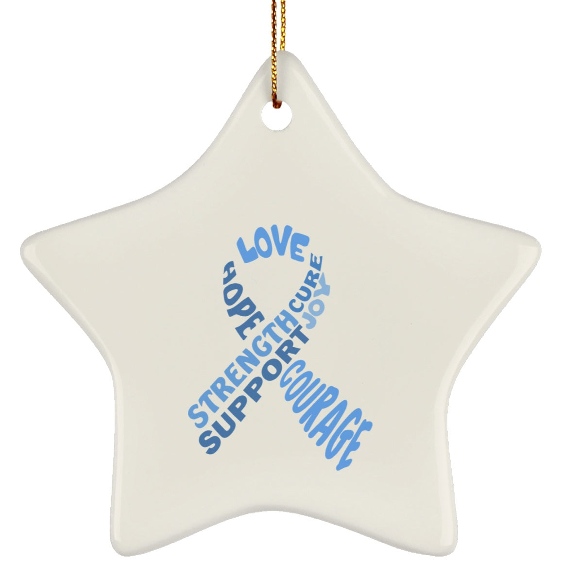 Light Blue Awareness Ribbon With Words Star Ornament - The Unchargeables