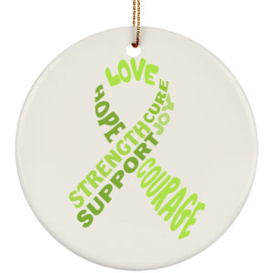 Lime Green Awareness Ribbon With Words Circle Ornament - The Unchargeables