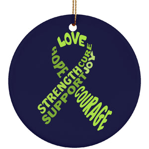 Lime Green Awareness Ribbon With Words Circle Ornament