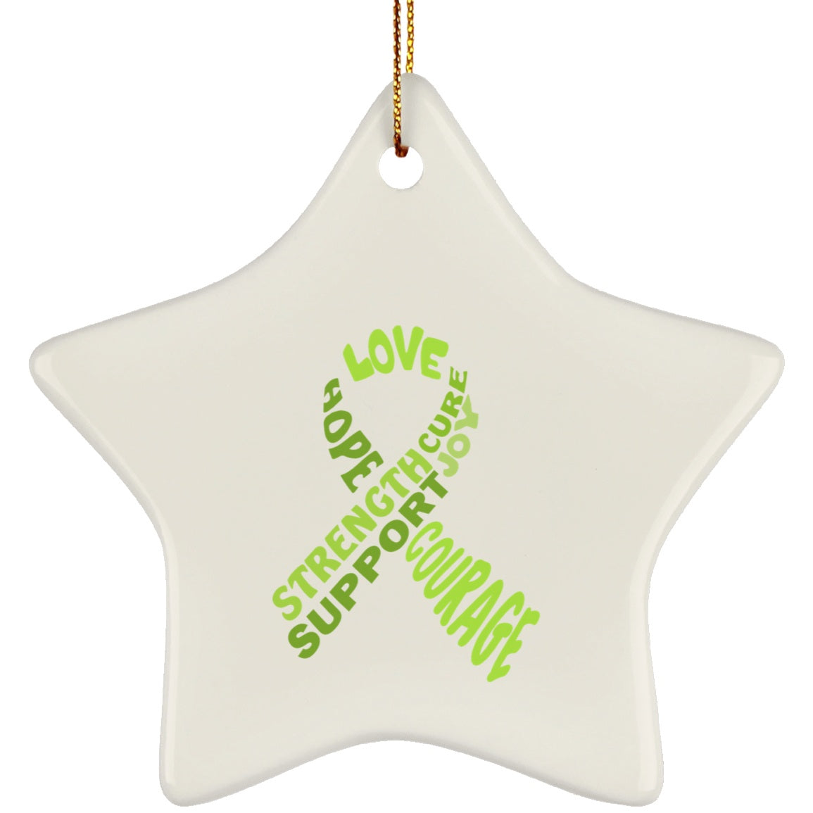 Lime Green Awareness Ribbon With Words Star Ornament
