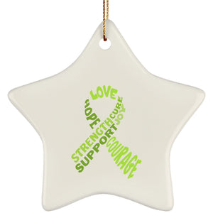 Lime Green Awareness Ribbon With Words Ceramic Star Ornament