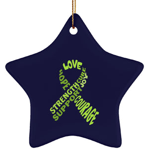 Lime Green Text Ribbon Star Ornament