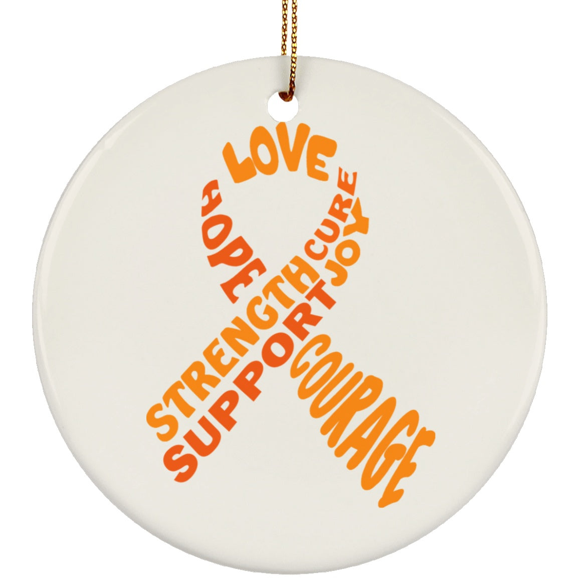 Orange Awareness Ribbon With Words Circle Ornament - The Unchargeables