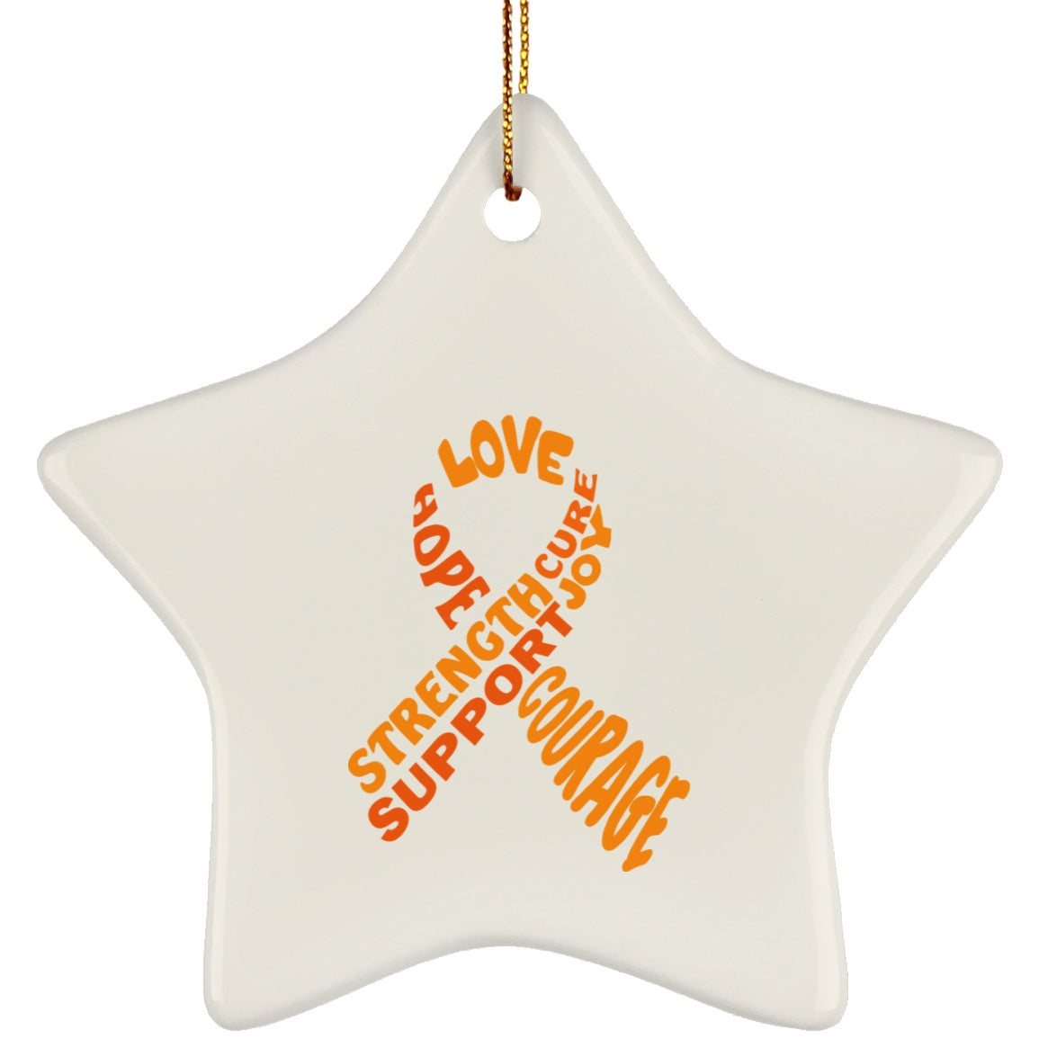 Orange Awareness Ribbon With Words Star Ornament - The Unchargeables