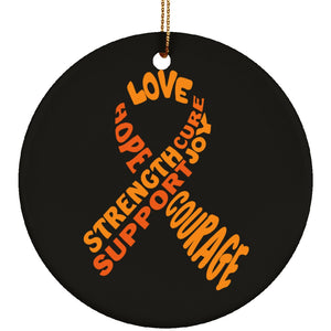 Orange Text Ribbon Circle Ornament - The Unchargeables