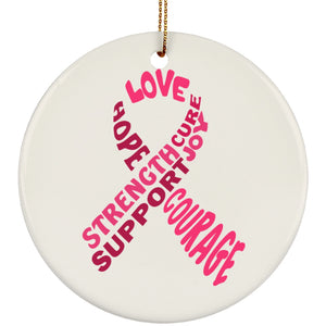 Pink Awareness Ribbon With Words Circle Ornament