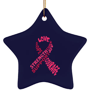 Pink Awareness Ribbon With Words Star Ornament - The Unchargeables