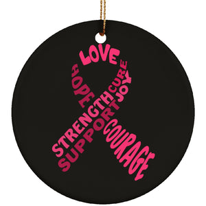 Pink Text Ribbon Circle Ornament - The Unchargeables