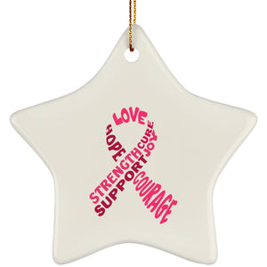 Pink Text Ribbon Star Ornament - The Unchargeables