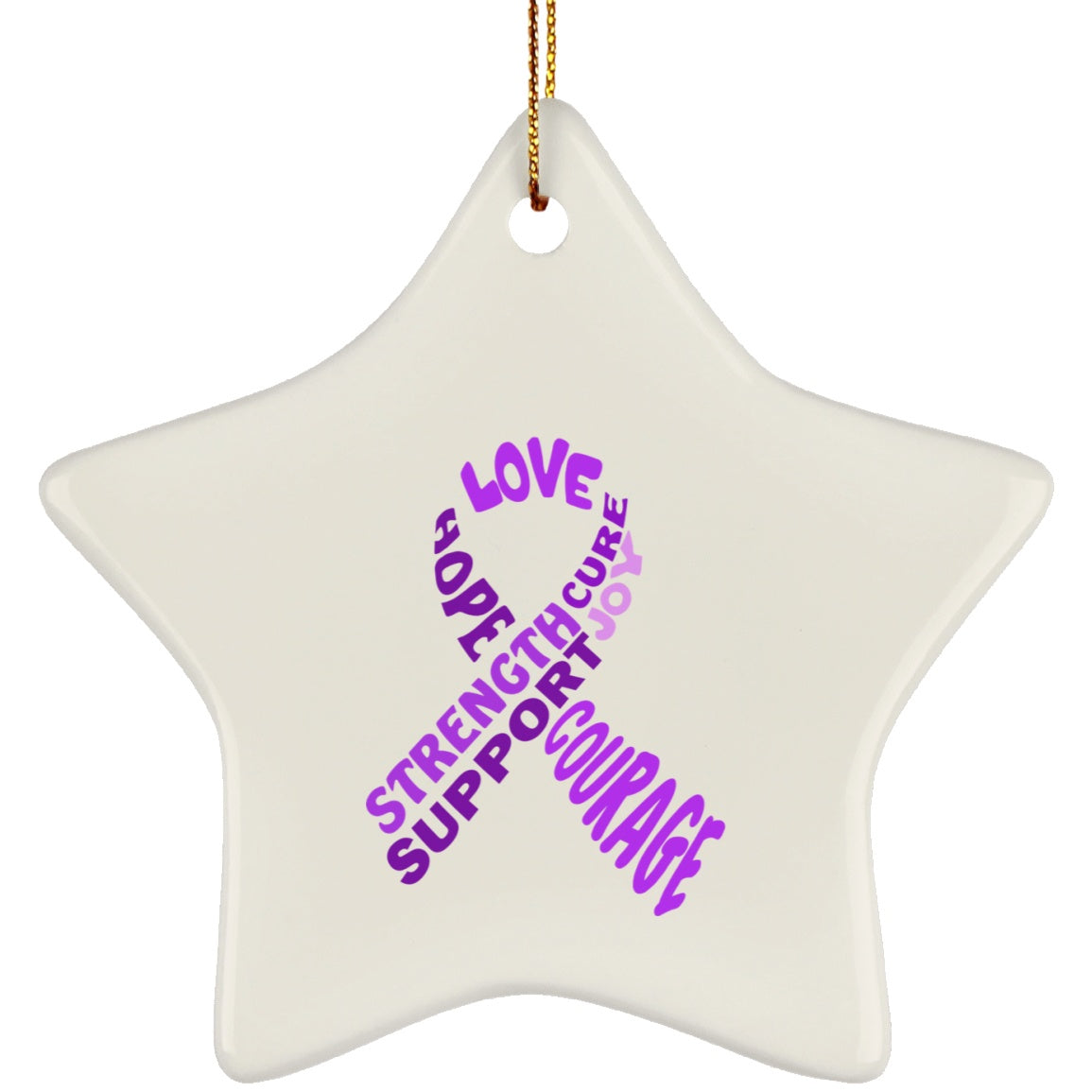 Purple Awareness Ribbon With Words Star Ornament