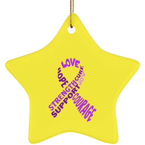 Purple Awareness Ribbon With Words Star Ornament - The Unchargeables