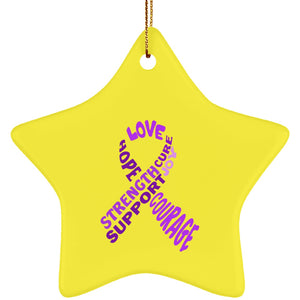 Purple Text Ribbon Star Ornament - The Unchargeables